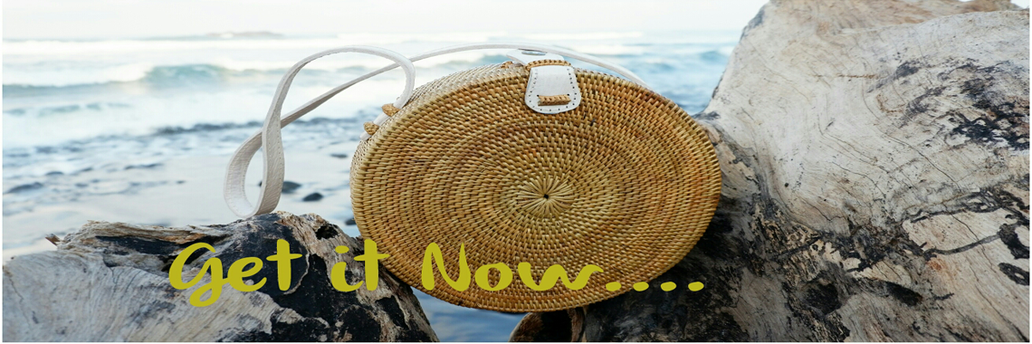 Ata round bag flower pattern with rattan strap