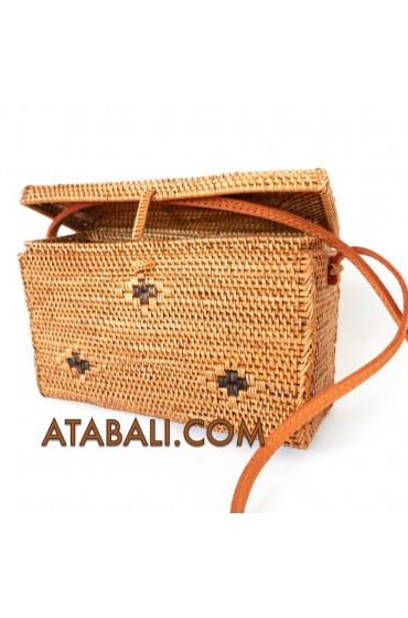Ata ethnic square bag with leather