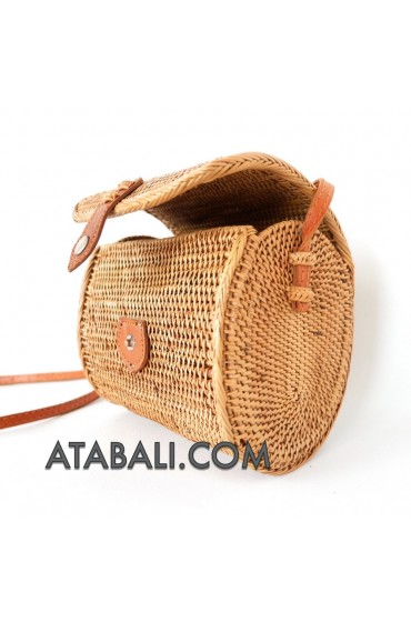 Ata mini barrel bag with leather