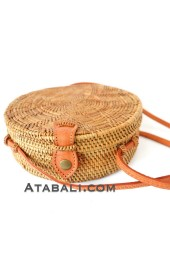 Ata round bag flower pattern with leather clip