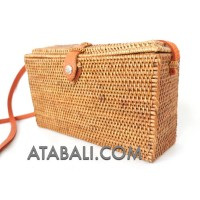 Rattan ata square sling bags with leather clips magnet