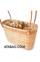 Ata rattan women beach bag with batik lining shapes