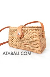 Mini rattan ata sling bags coins purses leather handle