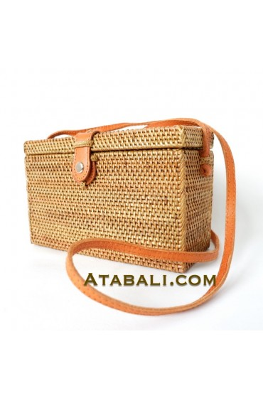 Rectangle Ata Rattan Grass Bag with Leather Clip