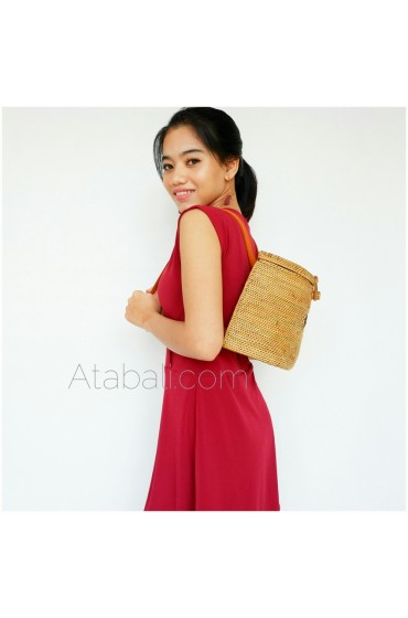 Backpack Ata Rattan Grass with Leather Strap Full Handmade