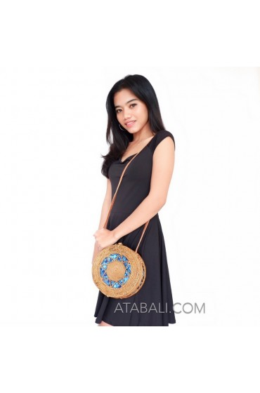 Ata rattan circle round sling bags motif ethnic with lining