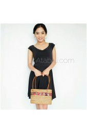 Ata rattan handmade ethnic women handbags with coco wood