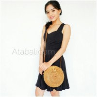 Ata unique circle bag long leather strap
