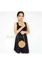 Ata mini round bag plain pattern with ribbon clip