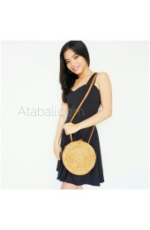 Wide round ata bag flower pattern with leather clip