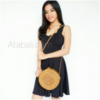 Ata round bag flower pattern with ribbon clip and leather strap