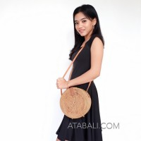 wide and large ata rattan round bag with flower pattern and lining