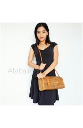 Travel bags sling leather rattan ata handwoven bali