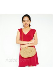 unique oval bags sling leather rattan ata bali design