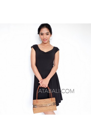 women fashion handbags rattan ata unique style coco button