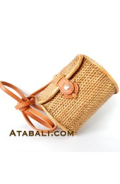 Mini Barrel ata rattan handwoven bag with leather clip