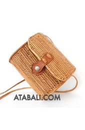 Ata mini barrel bag with rattan strap
