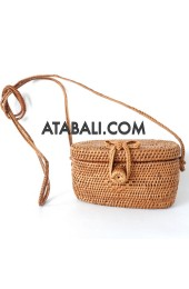 Ata mini coin bag with rattan strap