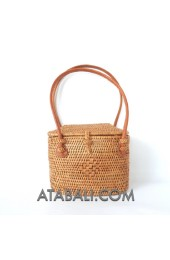 Ata mini tote handbag rattan handmade leather handle