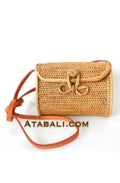 Mini wallet ata rattan handwoven bag with ribbon clip