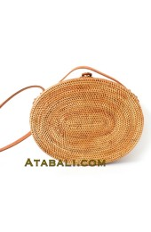 Ata rattan oval round leather clip bags