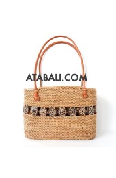 Ata rattan women bag with coco wood