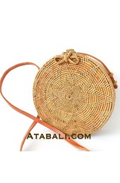 Ata round bag flower pattern with ribbon clip and lining