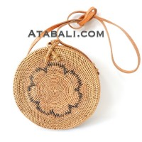 Ata round bag with black flower pattern and lining limited edition