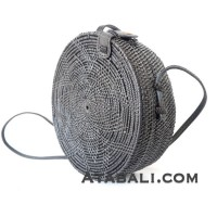 Ata Rattan round flower pattern handwoven bag in black