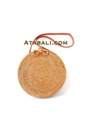 Ata round handwoven bag with ribbon clip