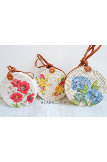3 color circle rattan sling bags decoration flowers
