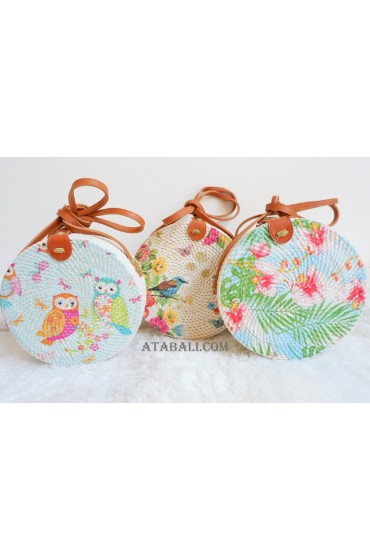 3 color rattan bags with decoration circle fashion