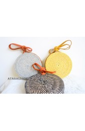 3 color solid circle rattan sling bags balinese design