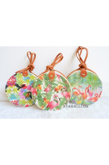 3color beautiful decoration circle rattan sling bags bali