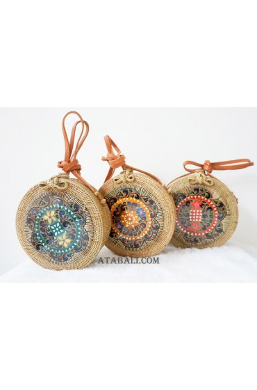3color circle sling bags rattan with wooden hand carved handmade