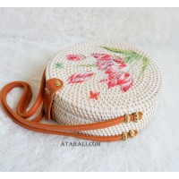 circle rattan sling bags white decoration flower