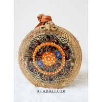 circle sling bags rattan with wooden hand carved handmade bali