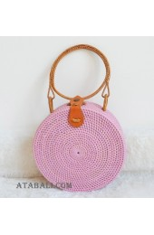 coloring rattan circle leather handbags hot pink color