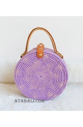 coloring rattan circle leather handbags purple color