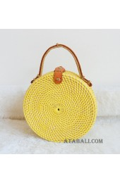 coloring rattan circle leather handbags yellow color