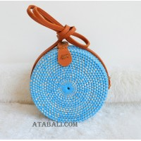 handmade coloring rattan circle sling leather bags blue color