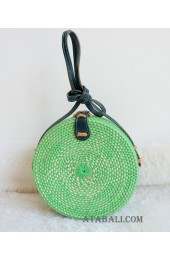 coloring rattan circle sling leather bags green color