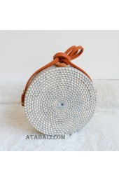 coloring rattan circle sling leather bags grey color