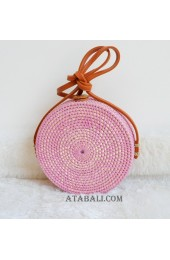 coloring rattan circle sling leather bags hot pink color