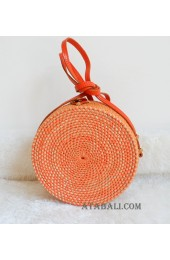 coloring rattan circle sling leather bags orange color