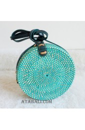 coloring rattan circle sling leather bags turquoise color