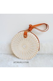 coloring rattan circle sling leather bags white color