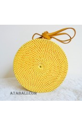 coloring rattan circle sling leather handle bags yellow