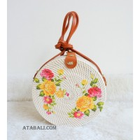 fashion circle rattan sling bags leather decoration