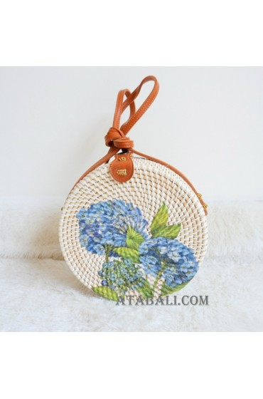 flower decoration sling bags rattan circle bali